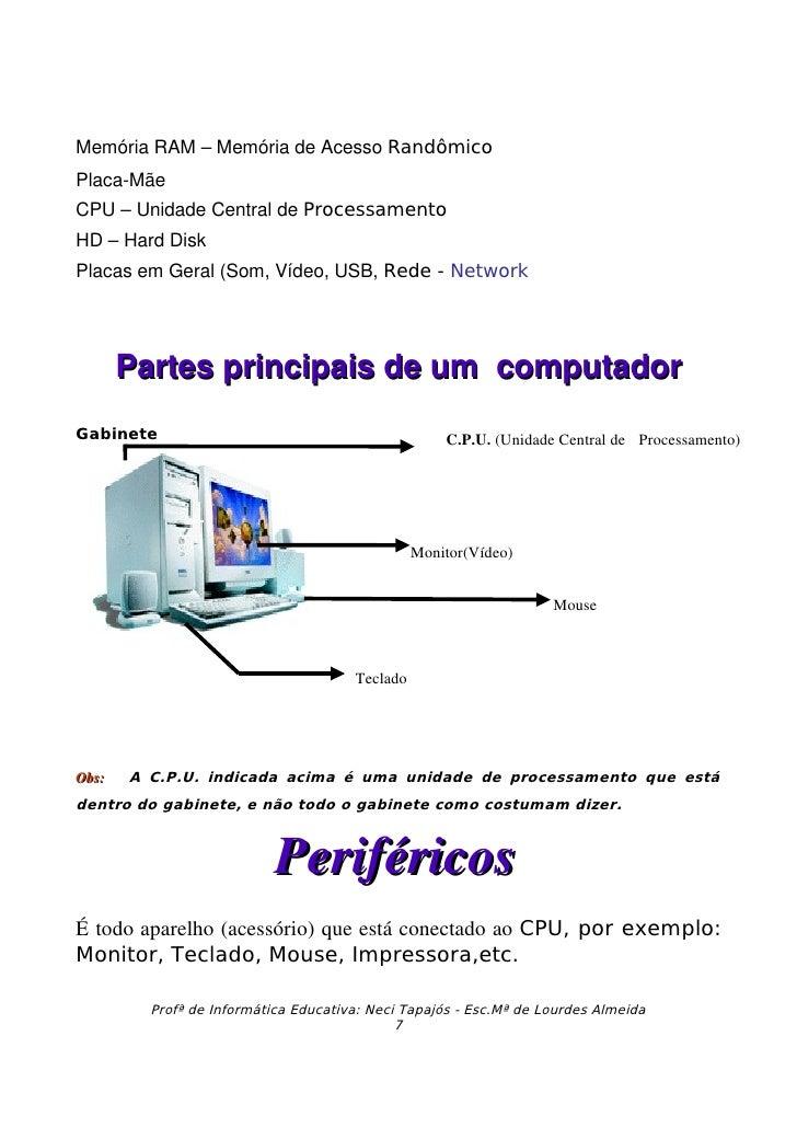MemóriaRAM–MemóriadeAcessoRandômico PlacaMãe CPU–UnidadeCentraldeProcessamento HD–HardDisk PlacasemGeral...