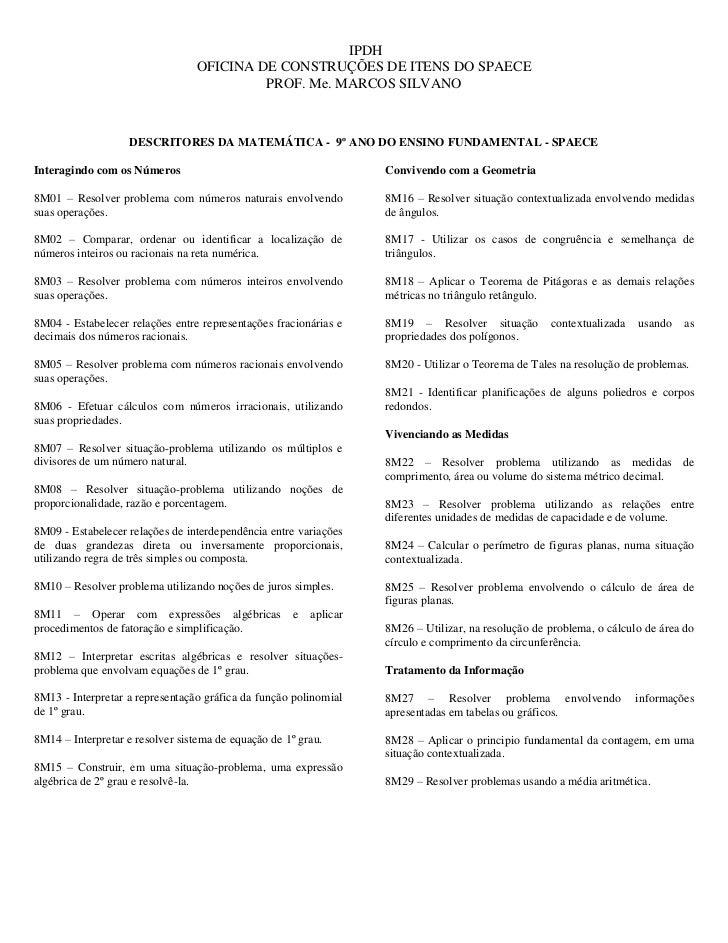 IPDH                                 OFICINA DE CONSTRUÇÕES DE ITENS DO SPAECE                                          PR...