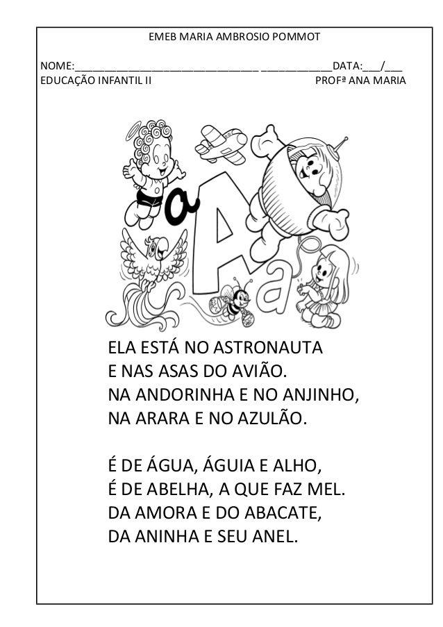 EMEB MARIA AMBROSIO POMMOT  NOME:_______________________________ ____________DATA:___/___  EDUCAÇÃO INFANTIL II PROFª ANA ...