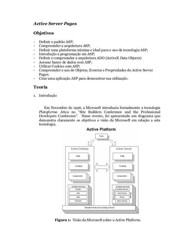 Active Server PagesObjetivos-   Definir o padrão ASP;-   Compreender a arquitetura ASP;-   Definir uma plataforma mínima e...