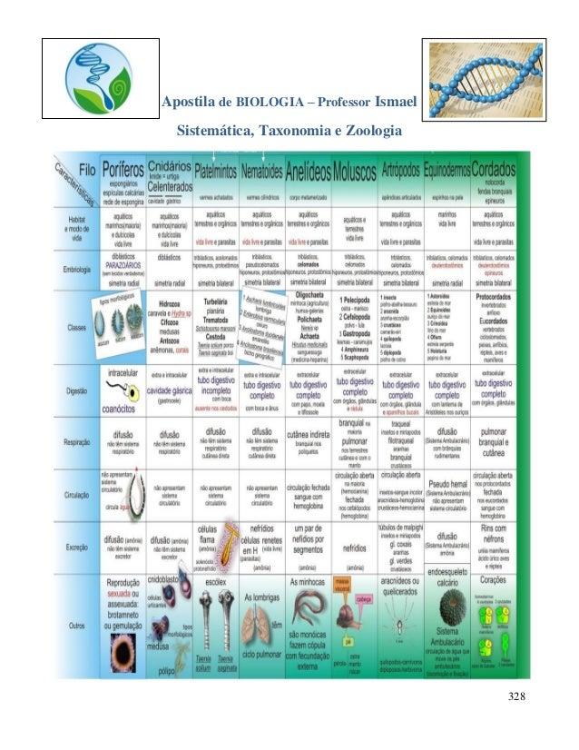 328 Apostila de BIOLOGIA – Professor Ismael Sistemática, Taxonomia e Zoologia