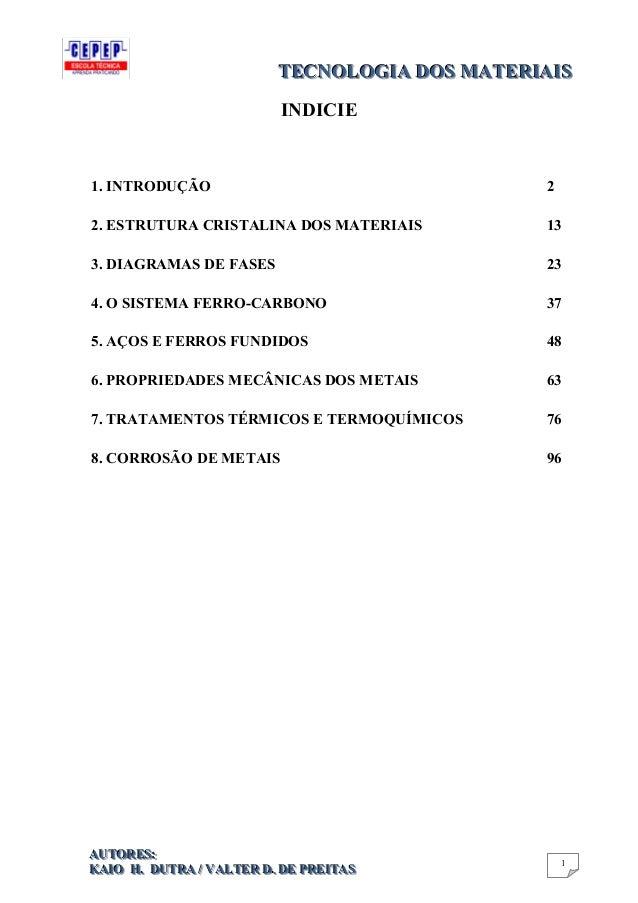 TECNOLOGIA DOS MATERIAIS TECNOLOGIA DOS MATERIAIS INDICIE  1. INTRODUÇÃO  2  2. ESTRUTURA CRISTALINA DOS MATERIAIS  13  3....