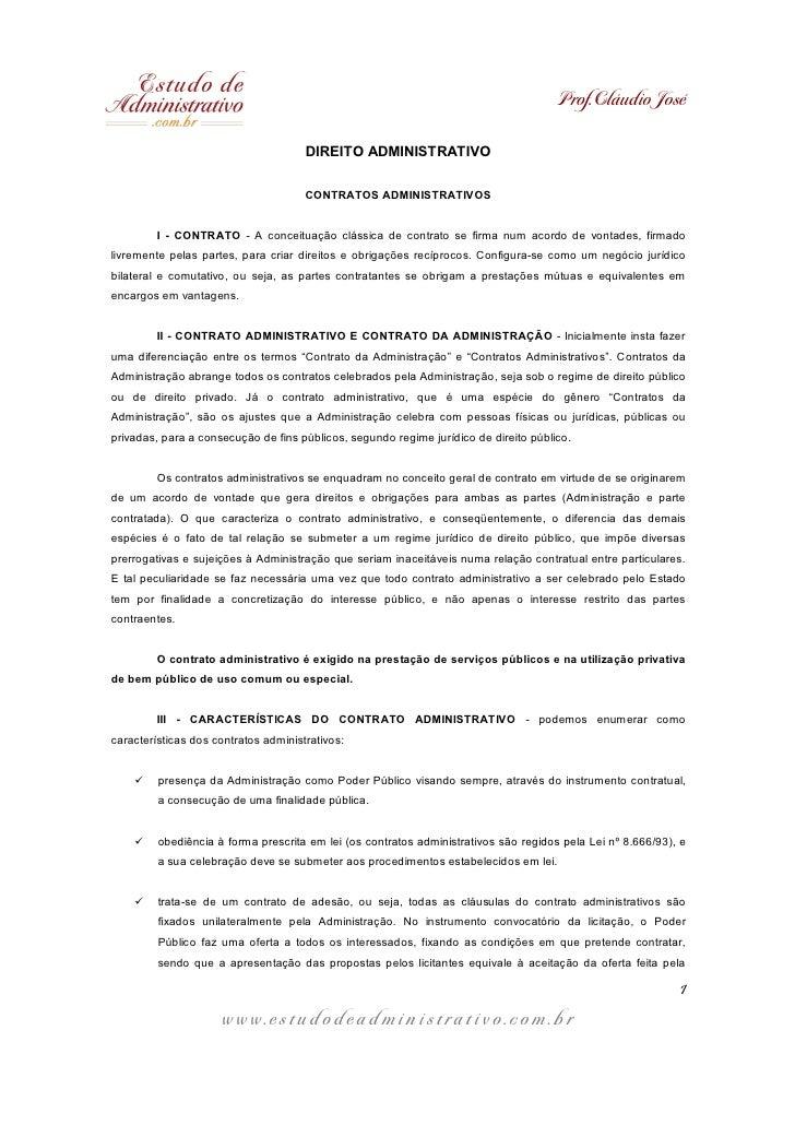 Prof. Cláudio José                                      DIREITO ADMINISTRATIVO                                      CONTRA...