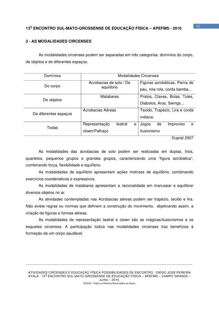 1113O ENCONTRO SUL-MATO-GROSSENSE DE EDUCAÇÃO FÍSICA – APEFMS - 20103 - AS MODALIDADES CIRCENSES       As modalidades circ...
