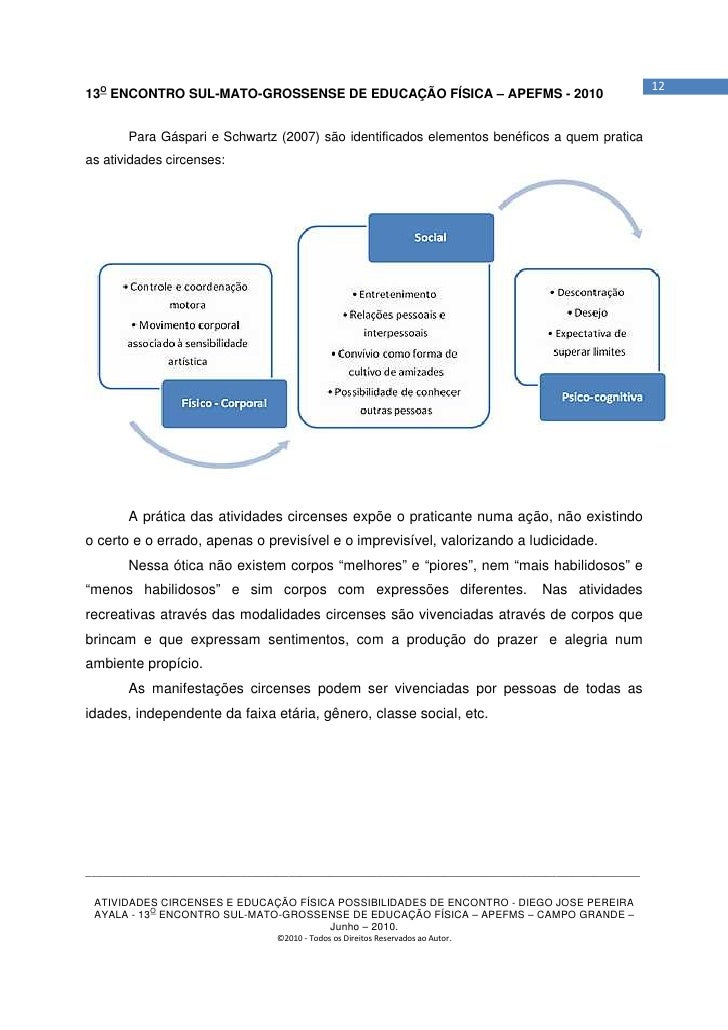 1213O ENCONTRO SUL-MATO-GROSSENSE DE EDUCAÇÃO FÍSICA – APEFMS - 2010       Para Gáspari e Schwartz (2007) são identificado...