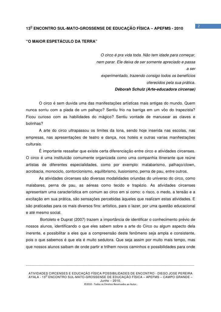 """213O ENCONTRO SUL-MATO-GROSSENSE DE EDUCAÇÃO FÍSICA – APEFMS - 2010""""O MAIOR ESPETÁCULO DA TERRA""""                          ..."""