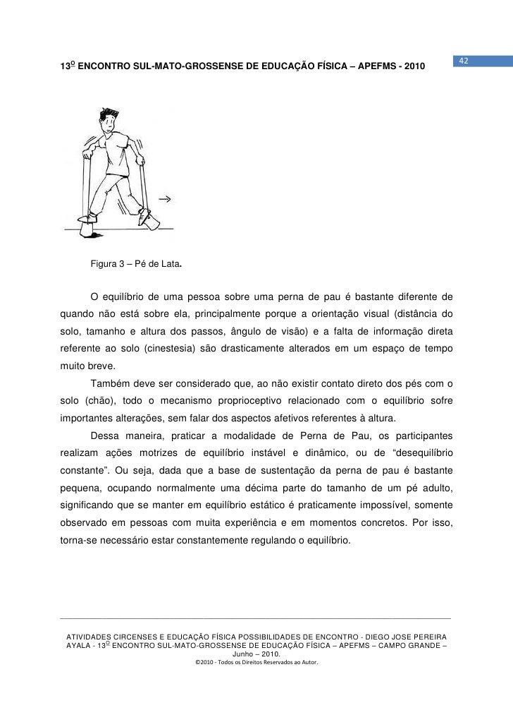 4213O ENCONTRO SUL-MATO-GROSSENSE DE EDUCAÇÃO FÍSICA – APEFMS - 2010       Figura 3 – Pé de Lata.       O equilíbrio de um...