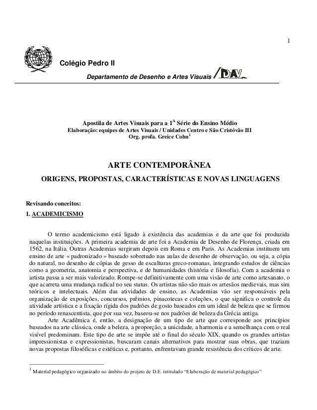 1 Colégio Pedro II Departamento de Desenho e Artes Visuais Departamento deDesenho e ArtesVisuais Apostila de Artes Visuais...