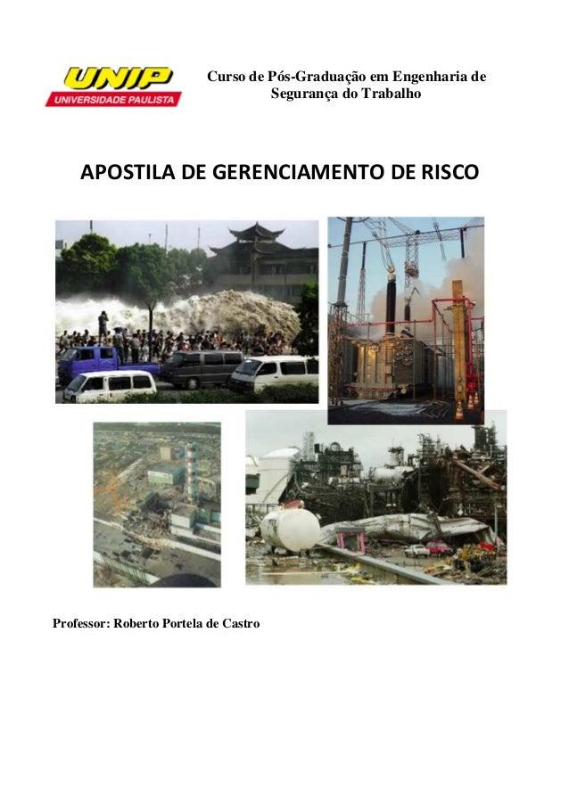 Curso de Pós-Graduação em Engenharia de Segurança do Trabalho APOSTILA DE GERENCIAMENTO DE RISCO Professor: Roberto Portel...