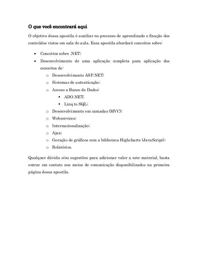 Apostila - Desenvolvimento Web com ASP.NET Slide 2