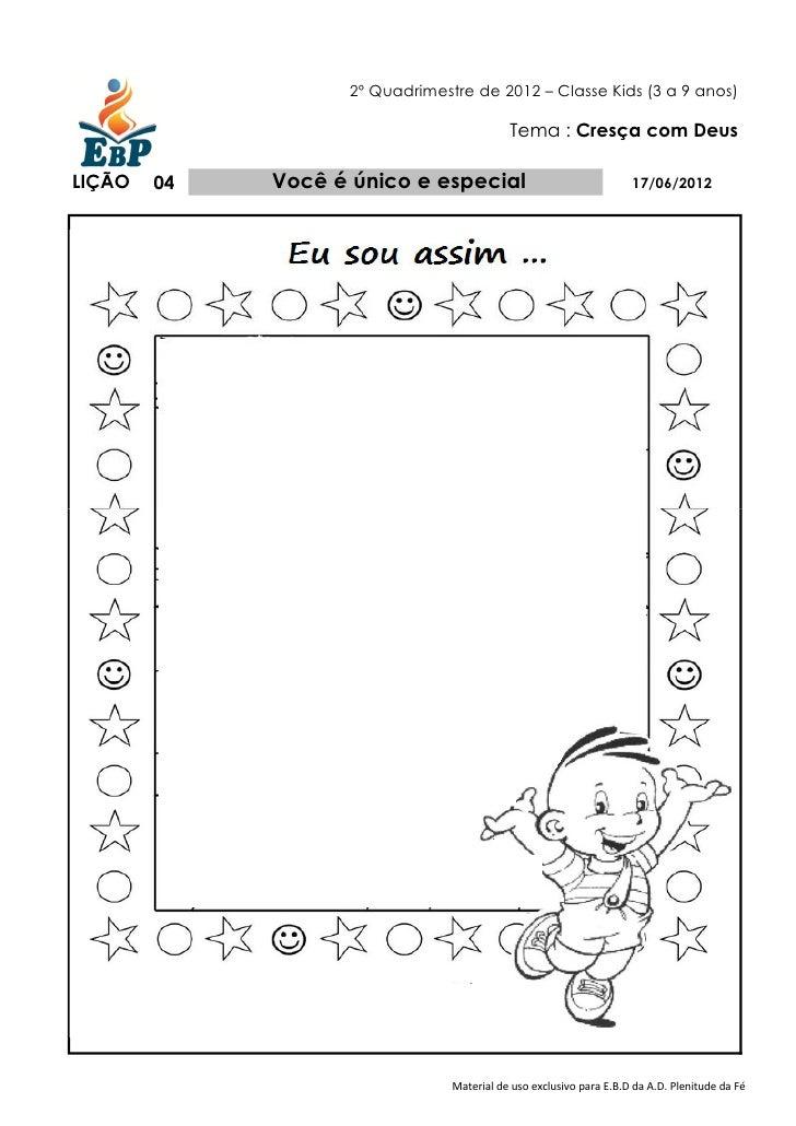 Apostila Ebd Classe Kids Professor Cresca Com Deus 2º Quadr