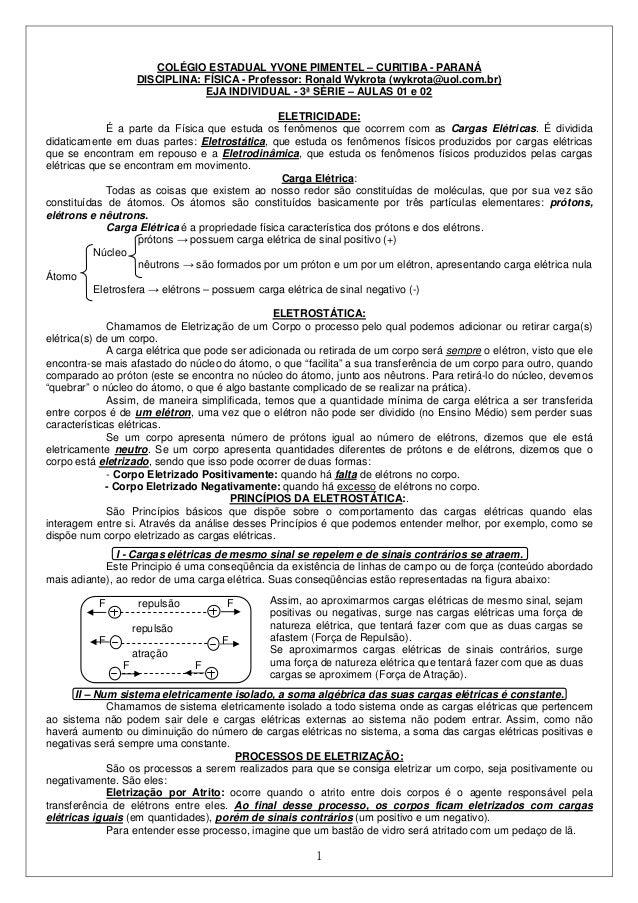 COLÉGIO ESTADUAL YVONE PIMENTEL – CURITIBA - PARANÁ  DISCIPLINA: FÍSICA - Professor: Ronald Wykrota (wykrota@uol.com.br)  ...