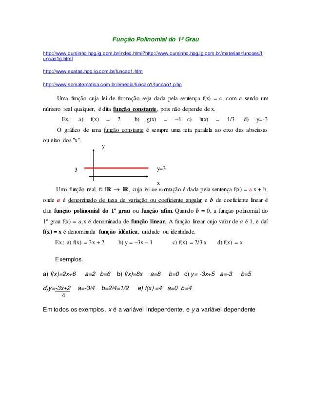 Função Polinomial do 1º Grau  http://www.cursinho.hpg.ig.com.br/index.html?http://www.cursinho.hpg.ig.com.br/materias/func...