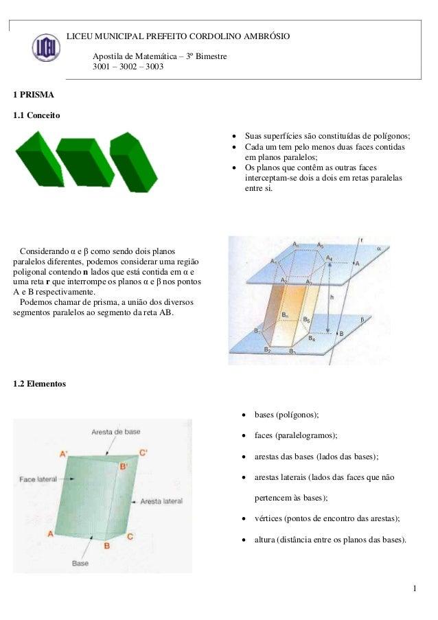 1 LICEU MUNICIPAL PREFEITO CORDOLINO AMBRÓSIO Apostila de Matemática – 3º Bimestre 3001 – 3002 – 3003 1 PRISMA 1.1 Conceit...