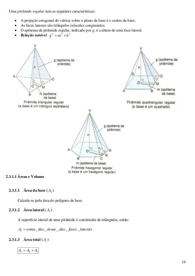 14 Uma pirâmide regular tem as seguintes características:  A projeção ortogonal do vértice sobre o plano da base é o cent...