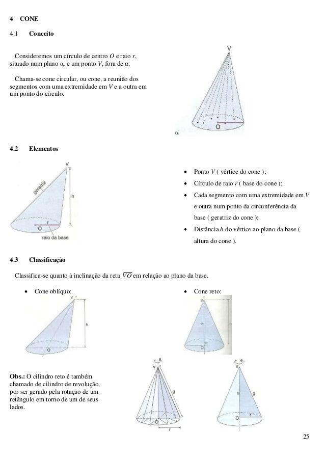 25 4 CONE 4.1 Conceito Consideremos um círculo de centro O e raio r, situado num plano α, e um ponto V, fora de α. Chama-s...
