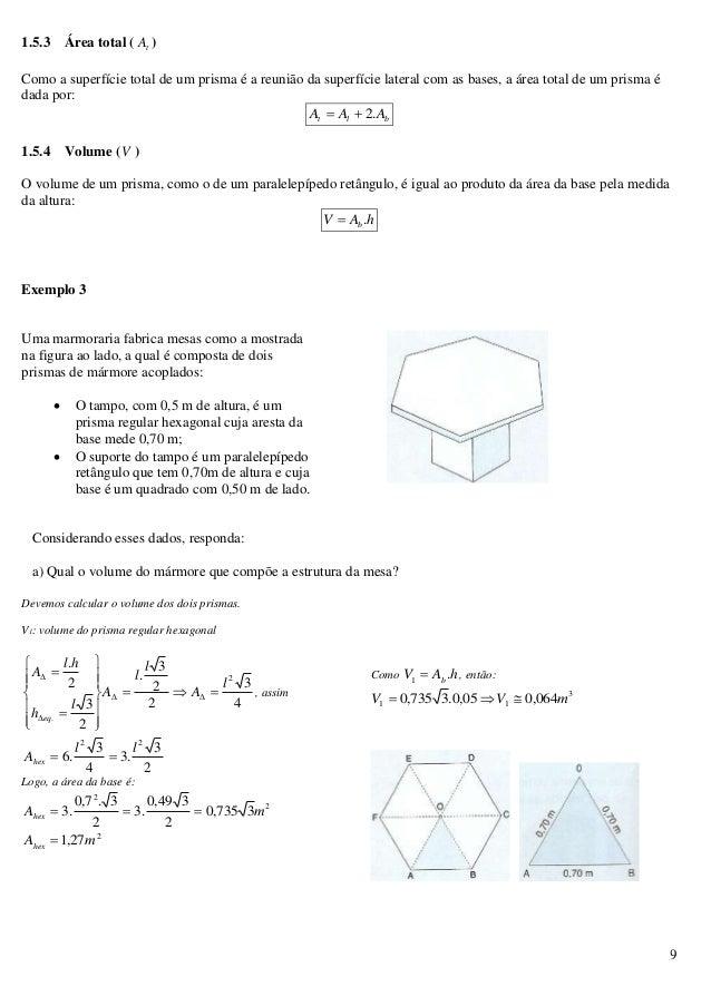 9 1.5.3 Área total ( tA ) Como a superfície total de um prisma é a reunião da superfície lateral com as bases, a área tota...