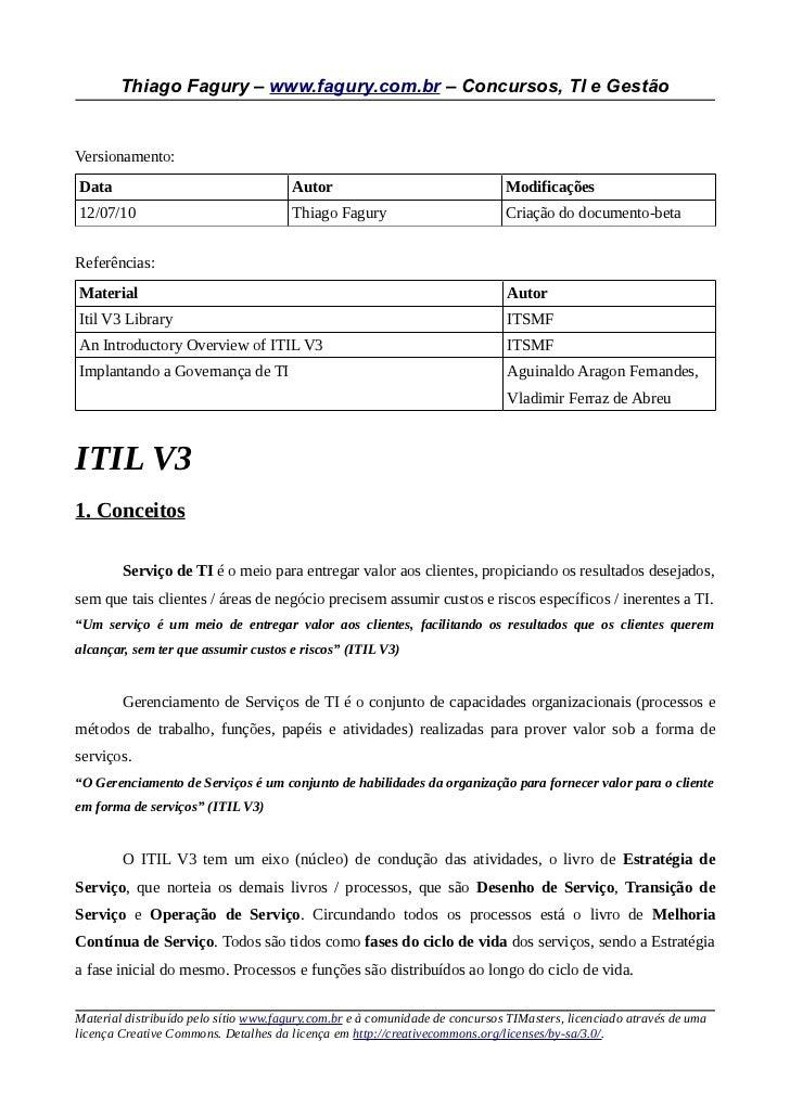 Thiago Fagury – www.fagury.com.br – Concursos, TI e GestãoVersionamento:Data                                   Autor      ...