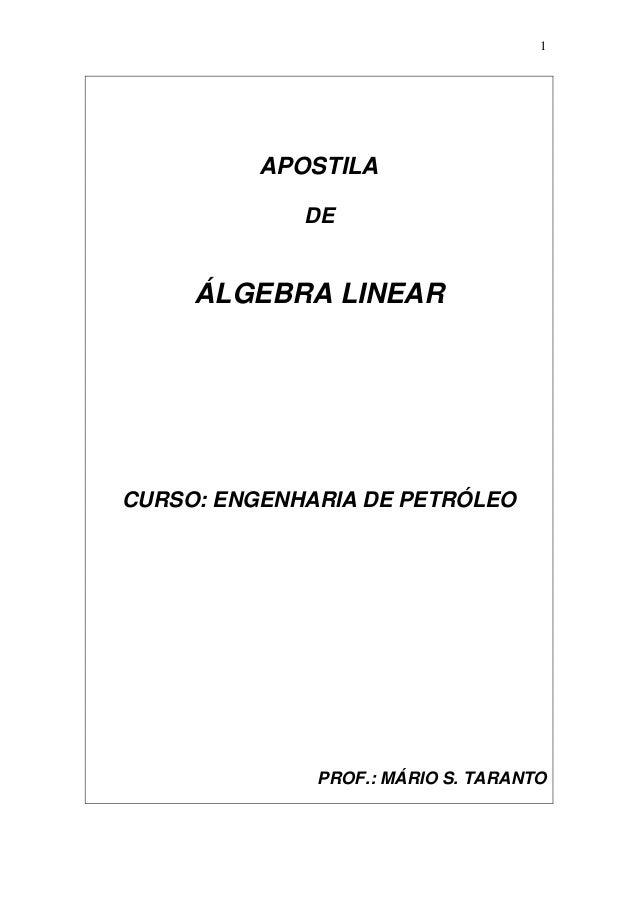 1 APOSTILA DE ÁLGEBRA LINEAR CURSO: ENGENHARIA DE PETRÓLEO PROF.: MÁRIO S. TARANTO