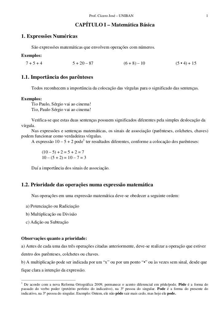 Prof. Cícero José – UNIBAN                                             1                                CAPÍTULO I – Matem...