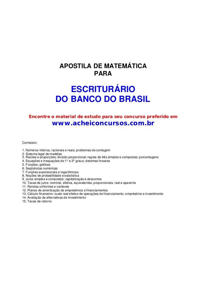 APOSTILA DE MATEMÁTICA                                   PARA                          ESCRITURÁRIO                       ...