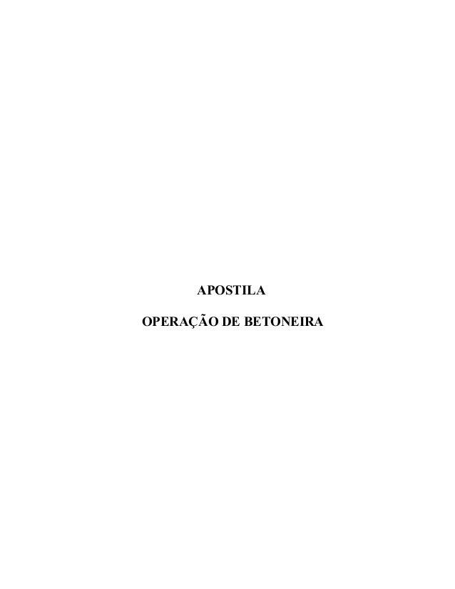 APOSTILA OPERAÇÃO DE BETONEIRA