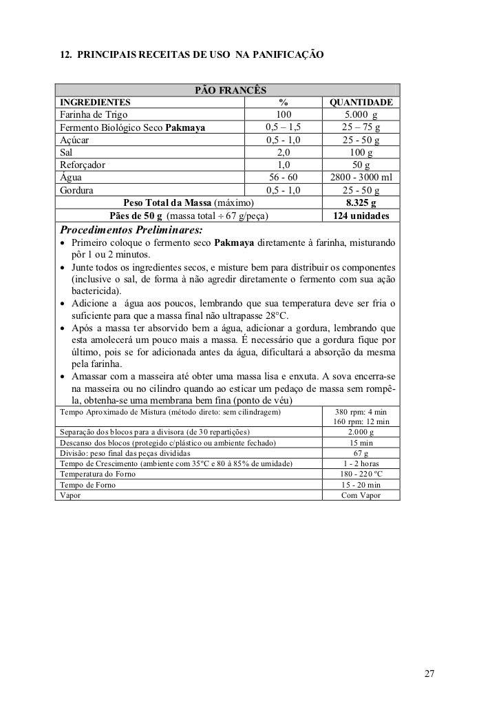 12. PRINCIPAIS RECEITAS DE USO NA PANIFICAÇÃO                                    PÃO FRANCÊSINGREDIENTES                  ...