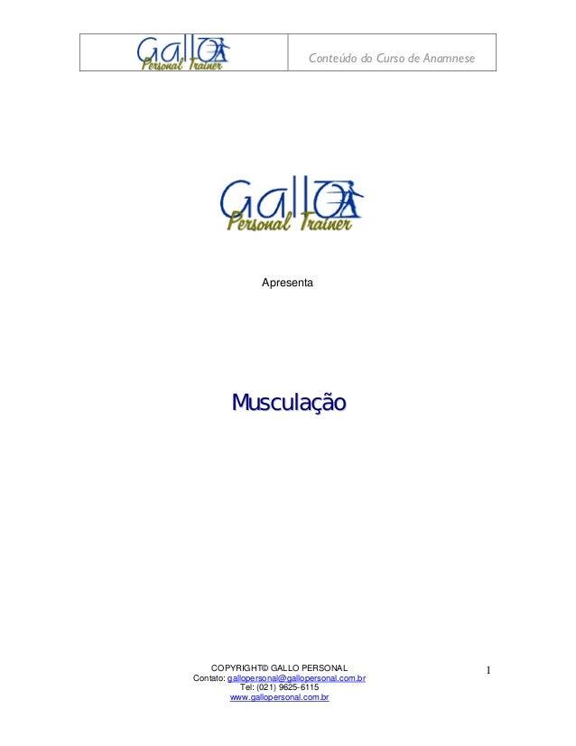 Conteúdo do Curso de Anamnese                 Apresenta         Musculação    COPYRIGHT© GALLO PERSONAL                   ...