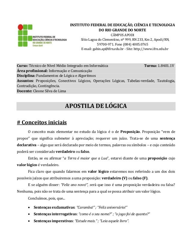 INSTITUTO FEDERAL DE EDUCAÇÃO, CIÊNCIA E TECNOLOGIA DO RIO GRANDE DO NORTE CÂMPUS APODI Sítio Lagoa do Clementino, nº 999,...