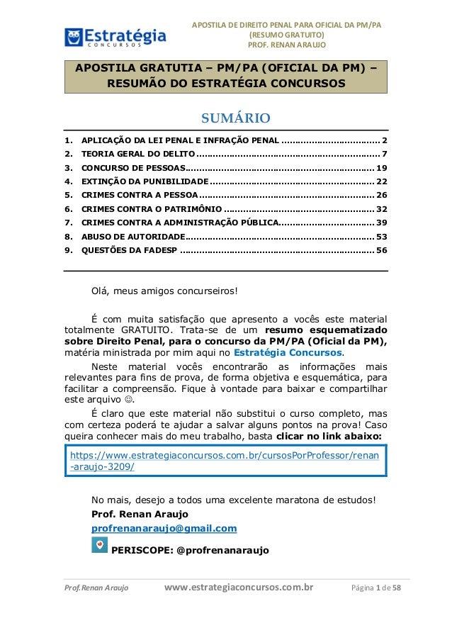 APOSTILADEDIREITOPENALPARAOFICIALDAPM/PA (RESUMOGRATUITO) PROF.RENANARAUJO         Prof.RenanAraujo...