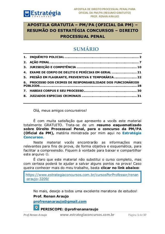 APOSTILADEDIREITOPROCESSUALPENALPARA OFICIALDAPM/PA(RESUMOGRATUITO) PROF.RENANARAUJO         Prof.R...