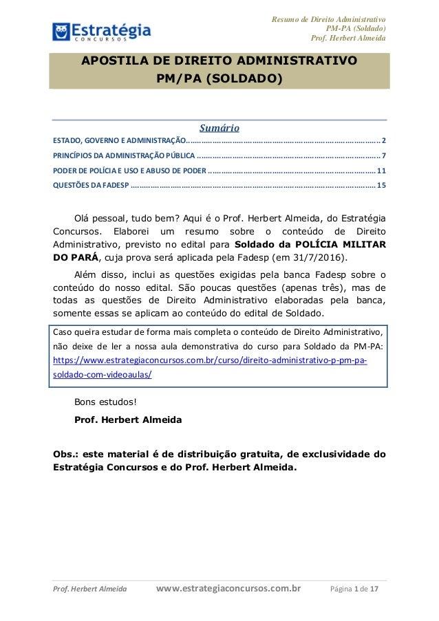 Resumo de Direito Administrativo PM-PA (Soldado) Prof. Herbert Almeida Prof. Herbert Almeida www.estrategiaconcursos.com.b...