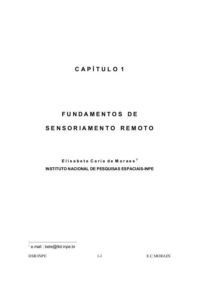 CAPÍTULO 1                      FUNDAMENTOS DE            SENSORIAMENTO REMOTO                      Elisabete Caria de Mor...