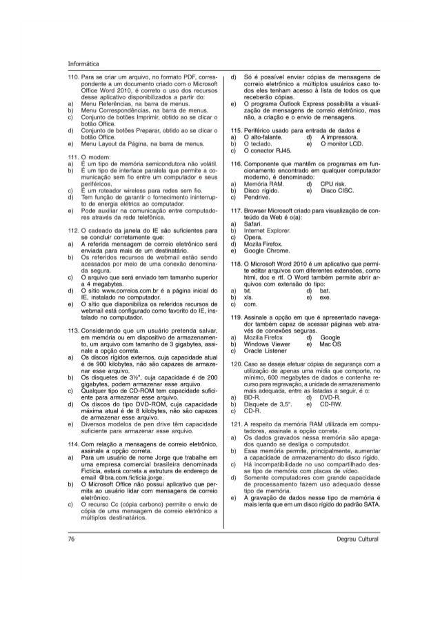 Informética  110.  113.  76  Para se criar um arquivo,  no formato PDF,  corres- pondente a um documento criado com 0 Micr...
