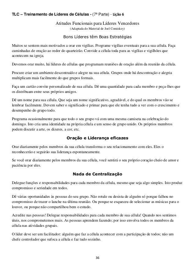 TLC – Treinamento de Líderes de Células - (7ª Parte) - Lição 6  Atitudes Funcionais para Líderes Vencedores (Adaptada do M...