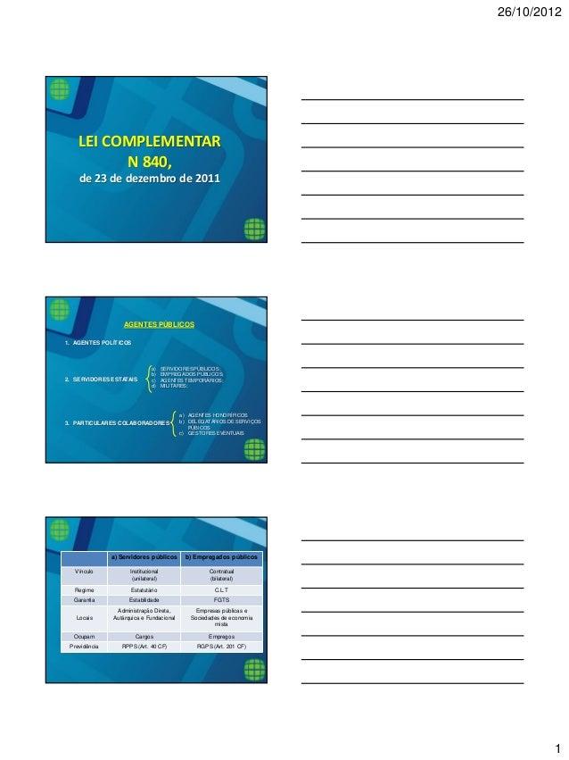 26/10/2012  1  LEI COMPLEMENTAR  N 840,  de 23 de dezembro de 2011 AGENTES PÚBLICOS  1.AGENTES POLÍTICOS  2.SERVIDORES EST...