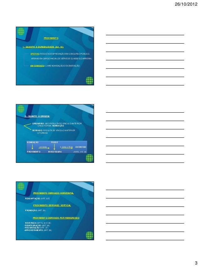 26/10/2012  3  PROVIMENTO I – QUANTO À DURABILIDADE (Art. 14): EFETIVO: RESULTA DE APROVAÇÃO EM CONCURSO PÚBLICO. APENAS E...