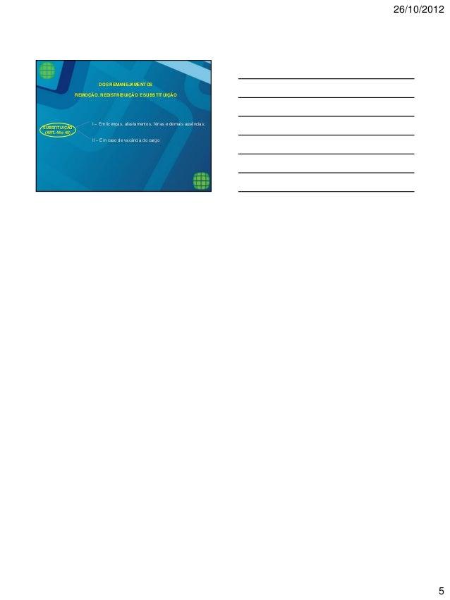 26/10/2012  5  SUBSTITUIÇÃO  (ART. 44 e 45)  I – Em licenças, afastamentos, férias e demais ausências;  II – Em caso de va...