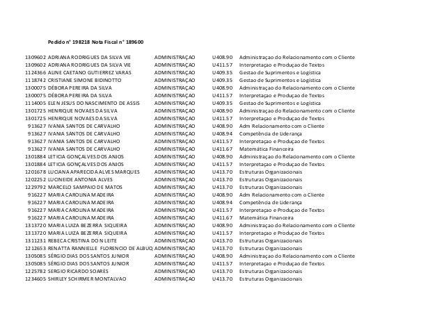 Pedido n° 198218 Nota Fiscal n° 1896001309602   ADRIANA RODRIGUES DA SILVA VIE      ADMINISTRAÇAO   U408.90   Administraça...