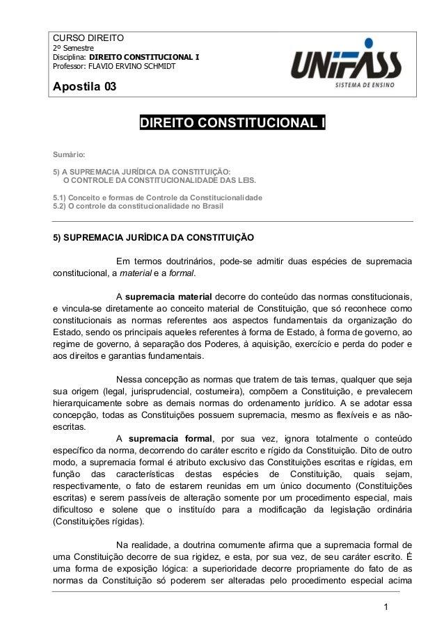 1  CURSO DIREITO  2º Semestre  Disciplina: DIREITO CONSTITUCIONAL I  Professor: FLAVIO ERVINO SCHMIDT  Apostila 03  DIREIT...
