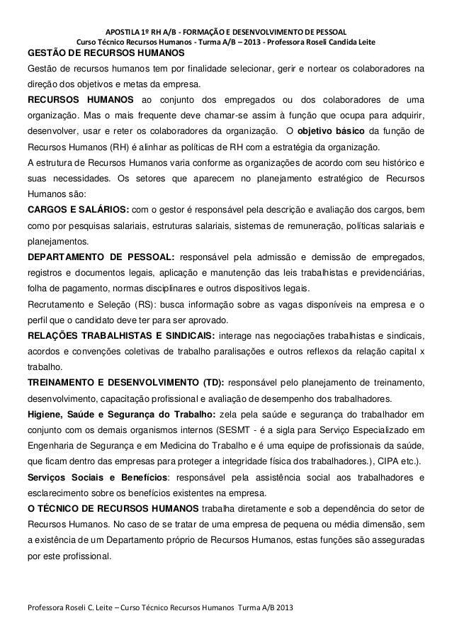 APOSTILA 1º RH A/B - FORMAÇÃO E DESENVOLVIMENTO DE PESSOAL             Curso Técnico Recursos Humanos - Turma A/B – 2013 -...