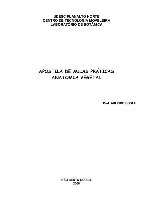 UDESC PLANALTO NORTE CENTRO DE TECNOLOGIA MOVELEIRA    LABORATÓRIO DE BOTÂNICAAPOSTILA DE AULAS PRÁTICAS    ANATOMIA VEGET...