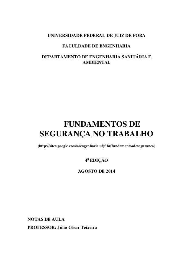 UNIVERSIDADE FEDERAL DE JUIZ DE FORA FACULDADE DE ENGENHARIA DEPARTAMENTO DE ENGENHARIA SANITÁRIA E AMBIENTAL FUNDAMENTOS ...