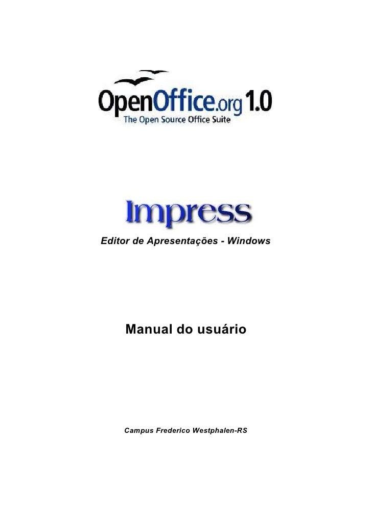 Editor de Apresentações - Windows    Manual do usuário    Campus Frederico Westphalen-RS