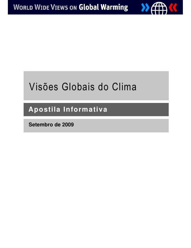 Visões Globais do Clima  Apostila Informativa  Setembro de 2009