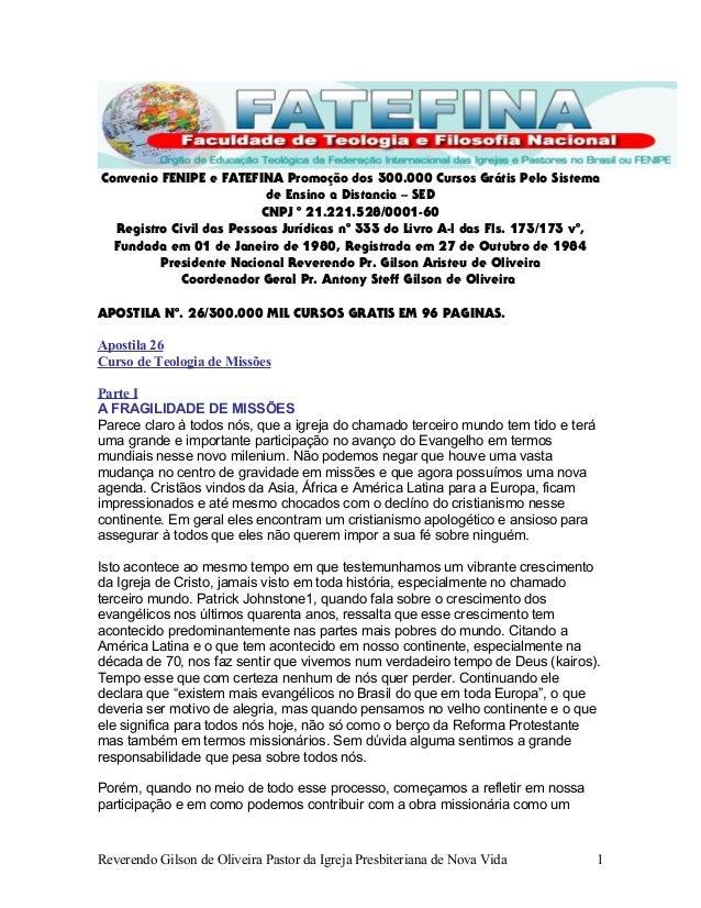 Convenio FENIPE e FATEFINA Promoção dos 300.000 Cursos Grátis Pelo Sistema de Ensino a Distancia – SED CNPJ º 21.221.528/0...