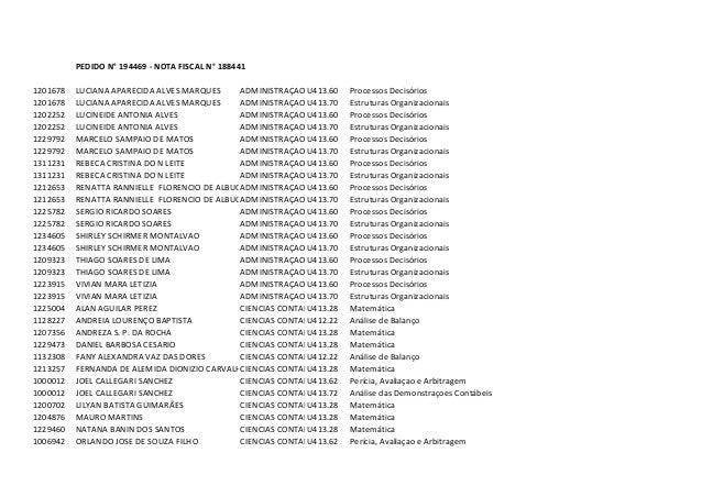 PEDIDO N° 194469 - NOTA FISCAL N° 1884411201678   LUCIANA APARECIDA ALVES MARQUES     ADMINISTRAÇAO U413.60    Processos D...