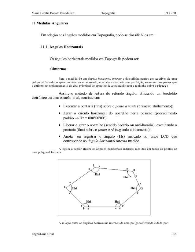 Maria Cecília Bonato Brandalize Topografia PUC/PR 11.Medidas Angulares Em relação aos ângulos medidos em Topografia, pode-...