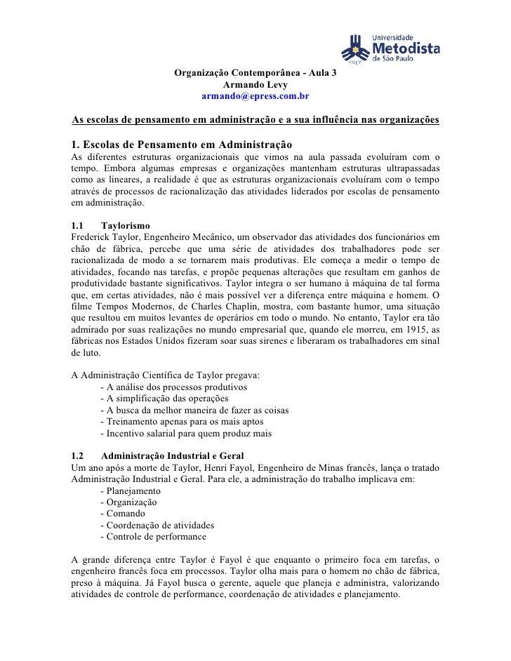 Organização Contemporânea - Aula 3                                    Armando Levy                               armando@e...
