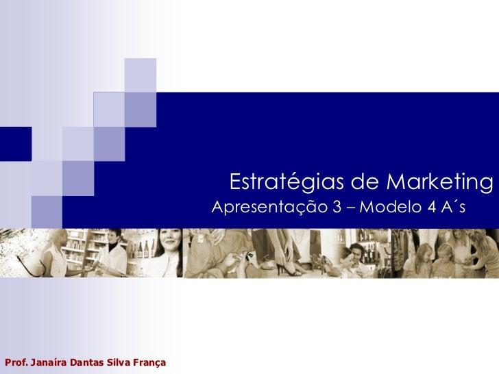 Estratégias de Marketing                                    Apresentação 3 – Modelo 4 A´sProf. Janaíra Dantas Silva França